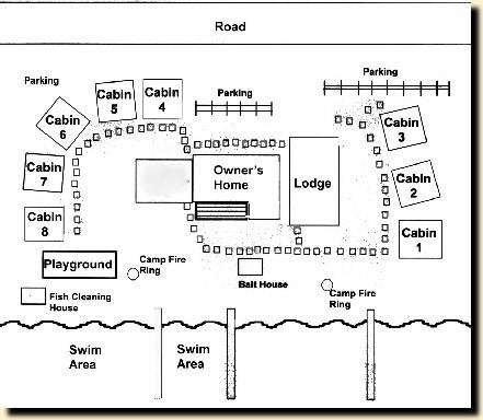 cabin map of sun-fish resort